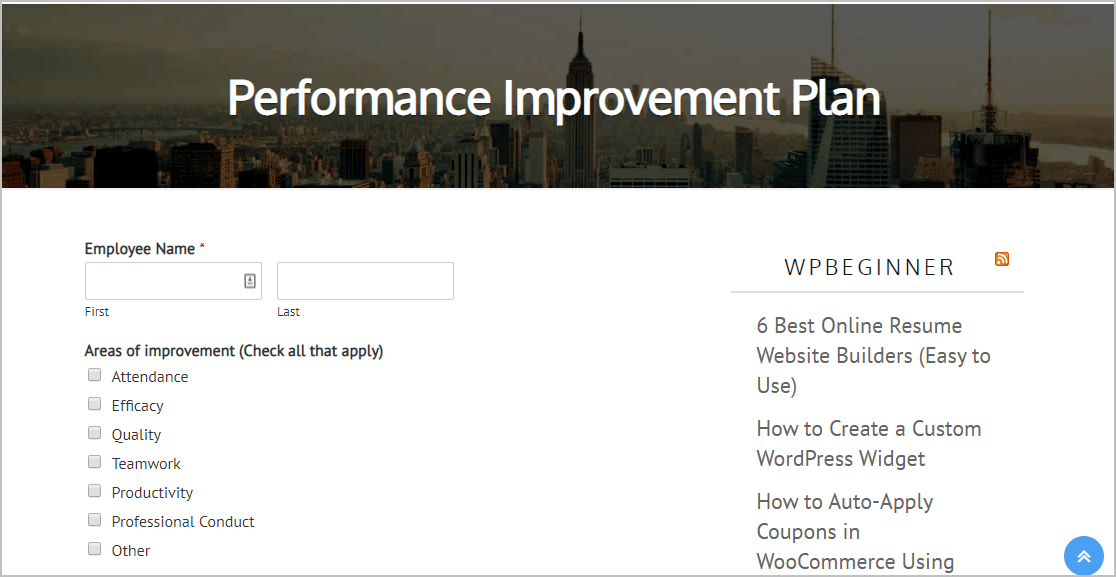 Preview Performance Improvement Form