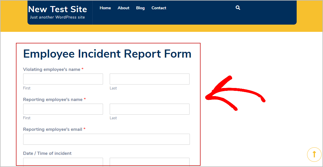 Publish Incident Report Form
