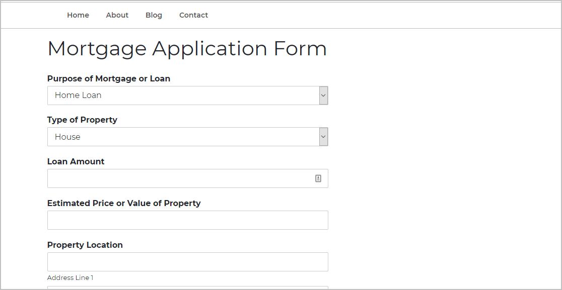 Publish Mortgage Form