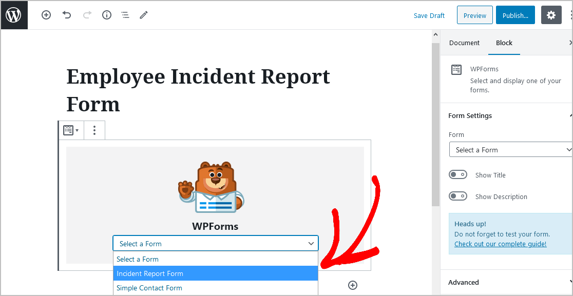 Select Incident Report Form