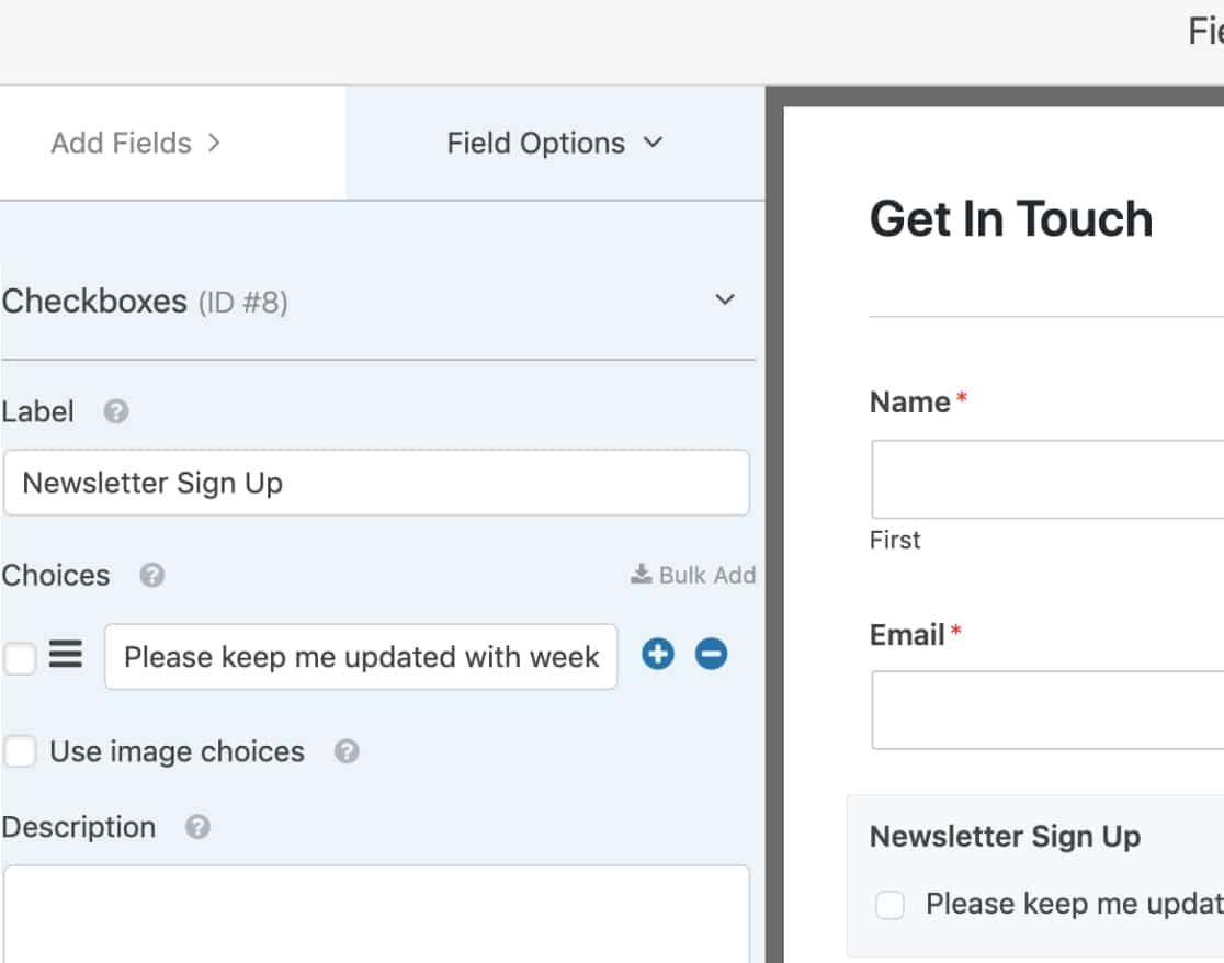 Set up newsletter signup checkbox