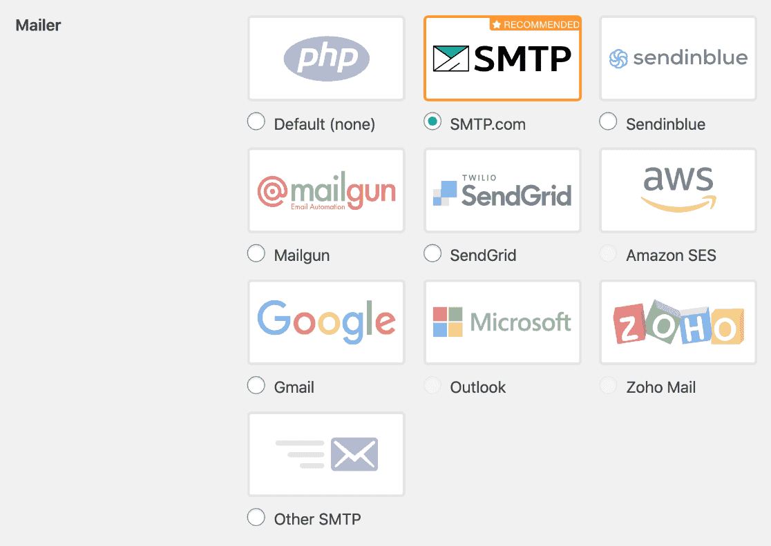 WP Mail SMTP mailers with SMTP.com selected