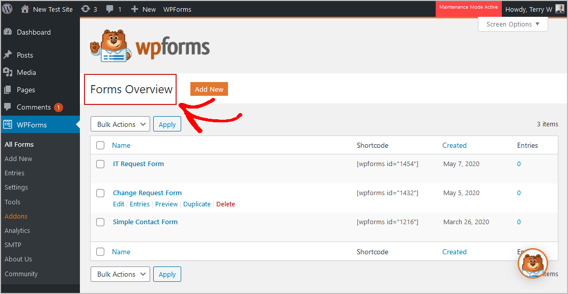 WPForms Overview Page