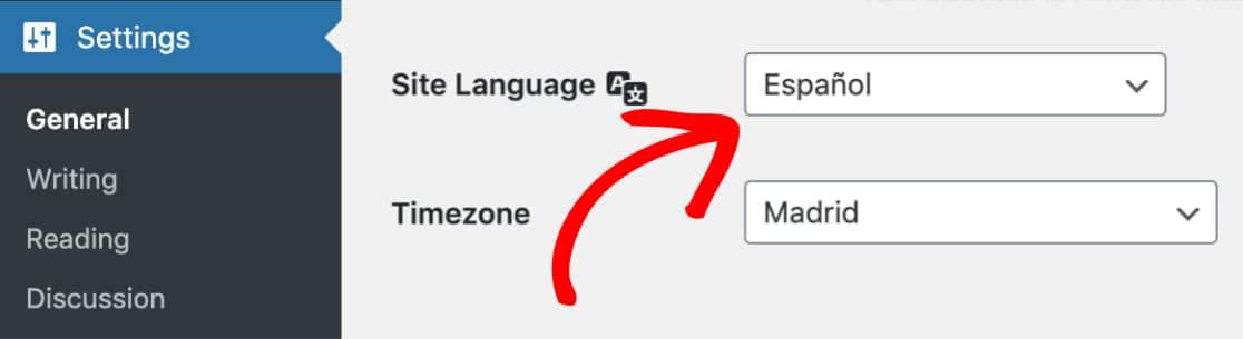 WordPress language settings