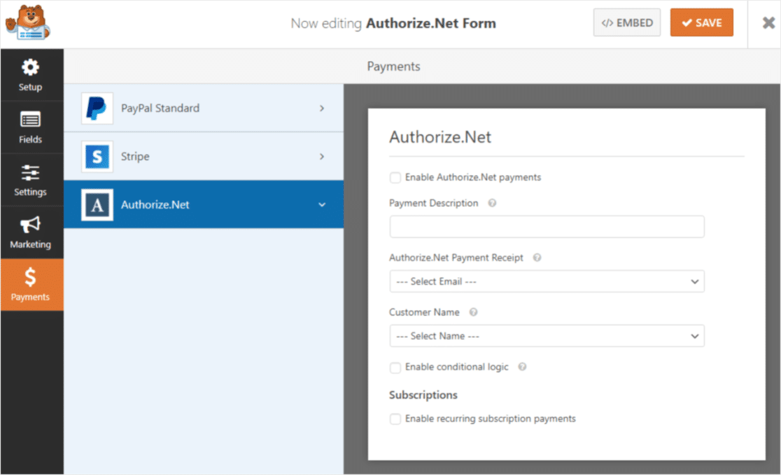 authorize net addon in action