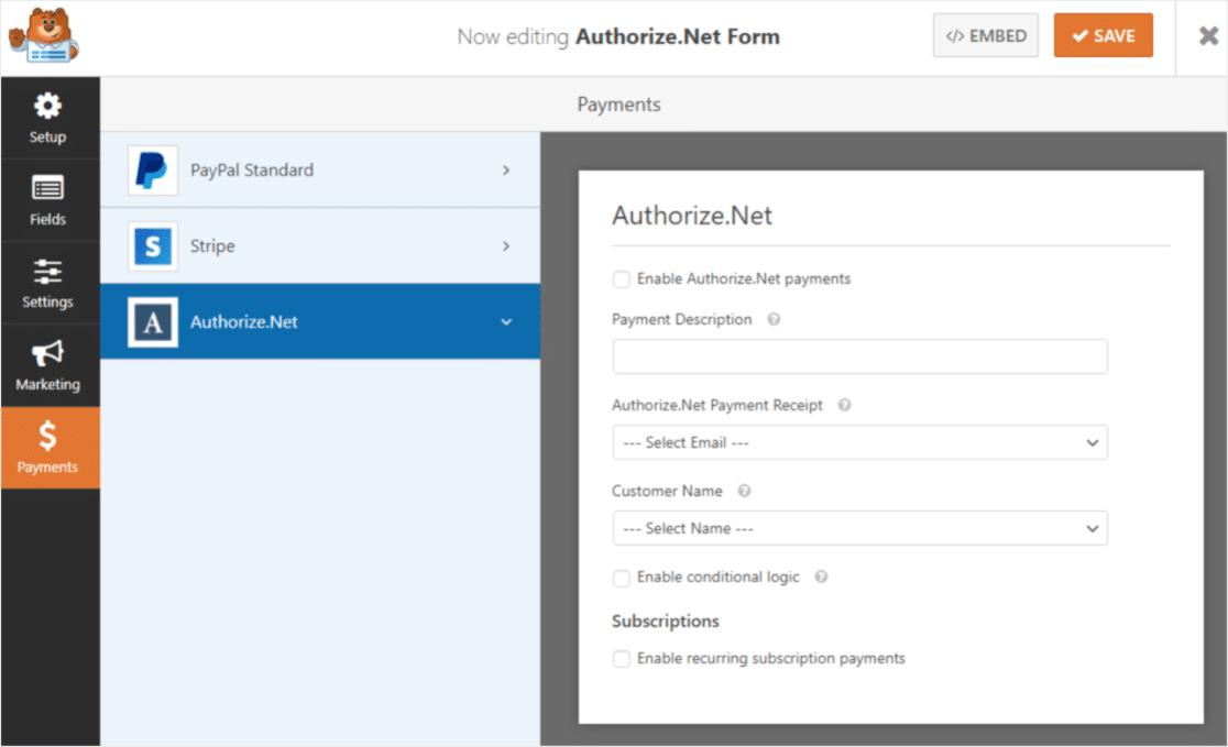 워드프레스 WPForms와 Authorize.Net 통합