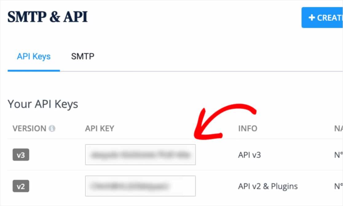copy av3 key into sendinblue for wp mail smpt setup
