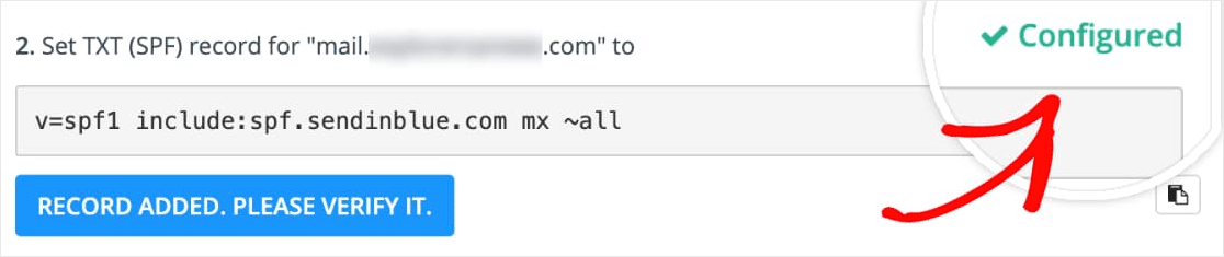 verified dns record in sendinblue for wp mail smtp