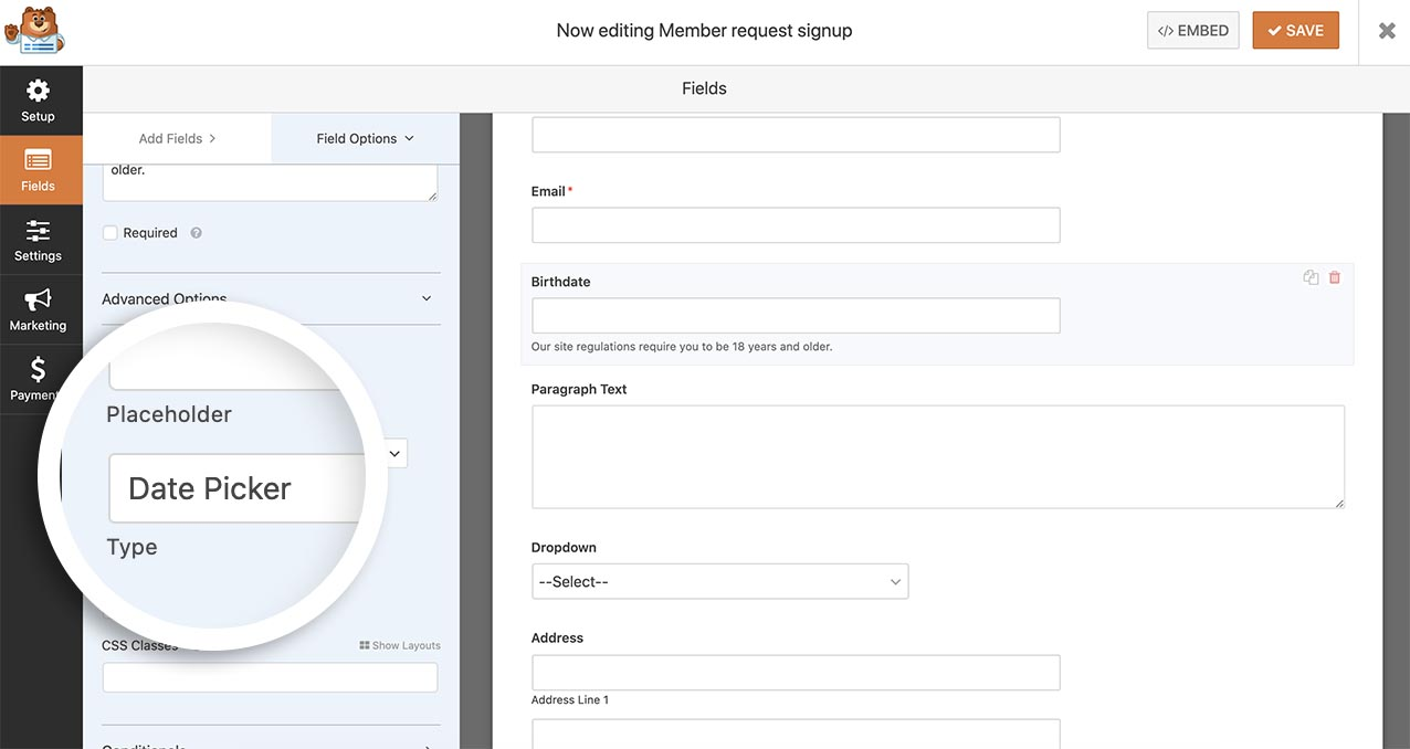 Add the date picker form field to your form