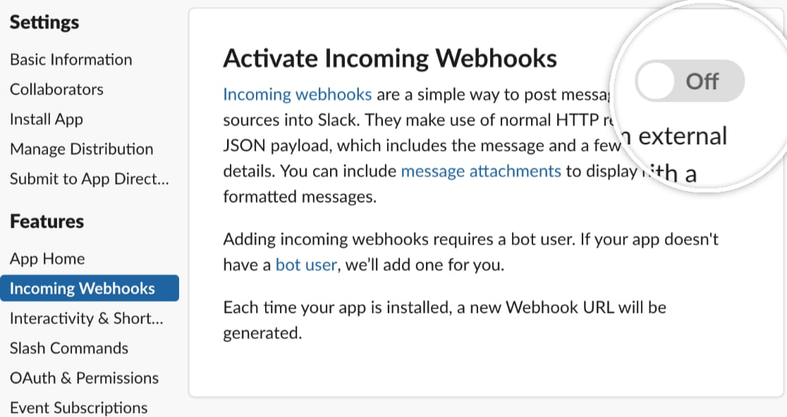 Activate Incoming Webhooks in Slack