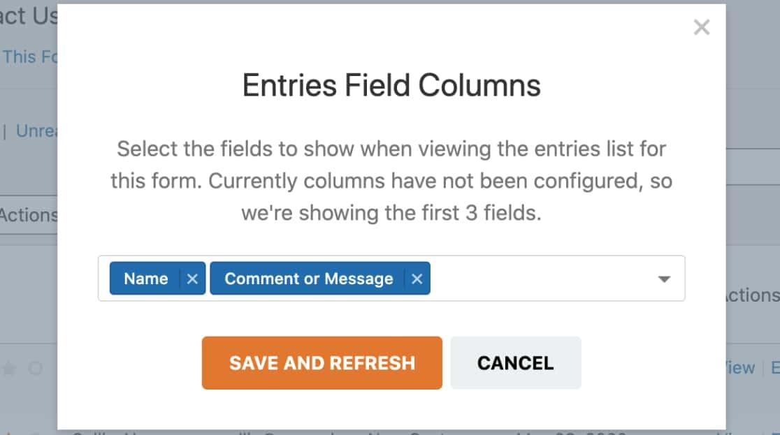 Entries Field Columns