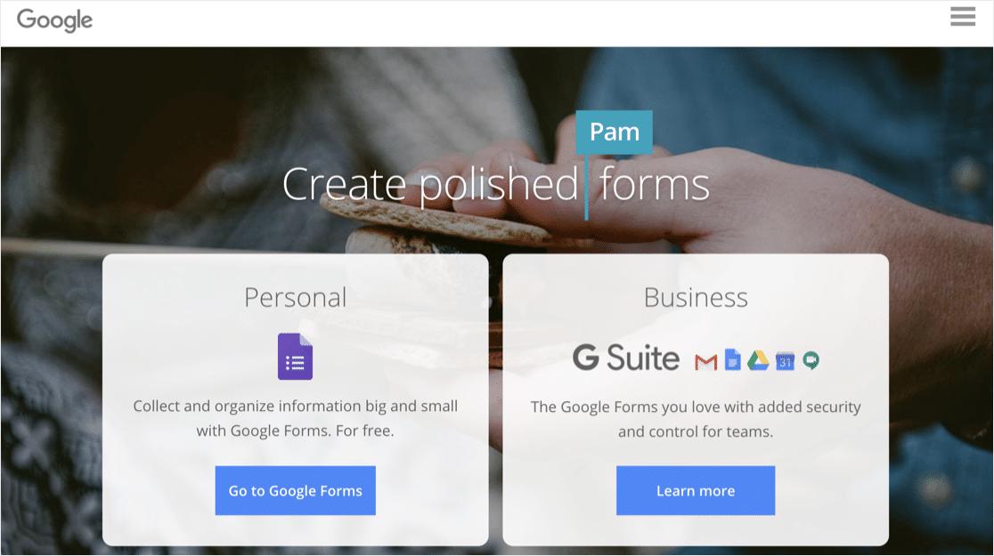Google Forms online form builder