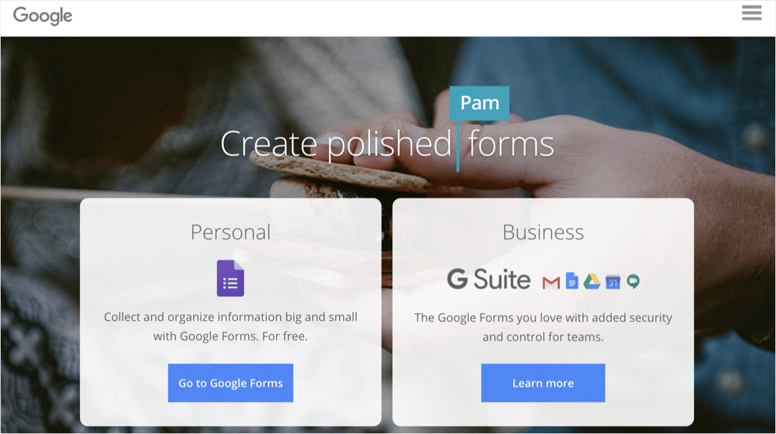 SurveyMonkey vs Google Forms: Google Forms form builder