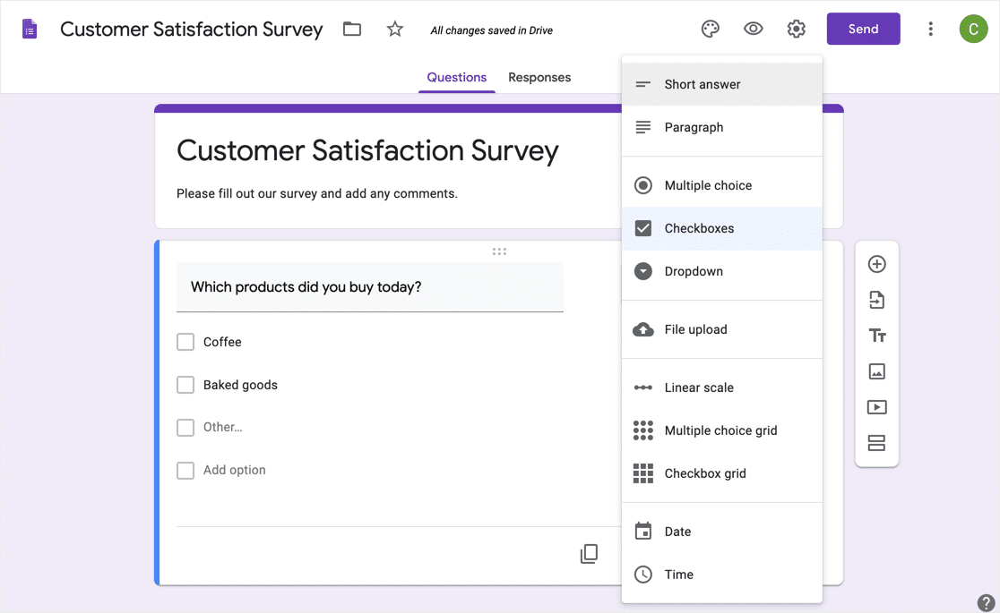 Google Forms builder interface