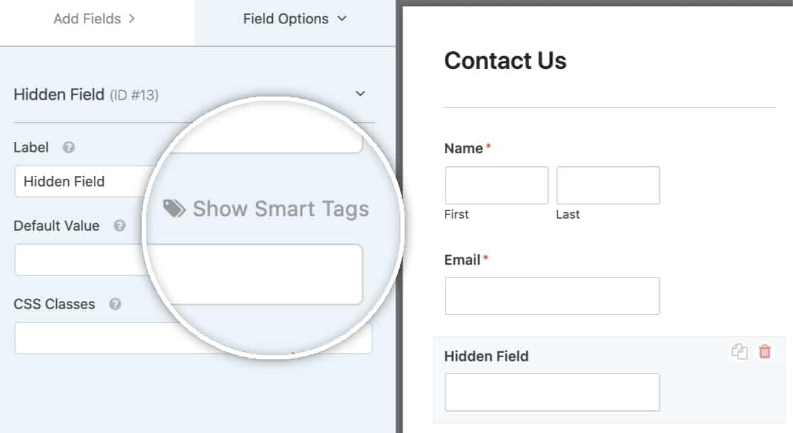 Show Hidden Fields Smart Tags