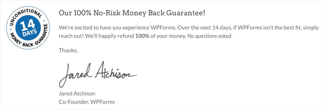 WPForms money-back guarantee