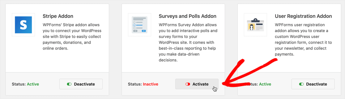 Activate Surveys and Polls addon
