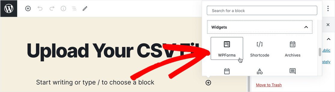 Add WPForms block