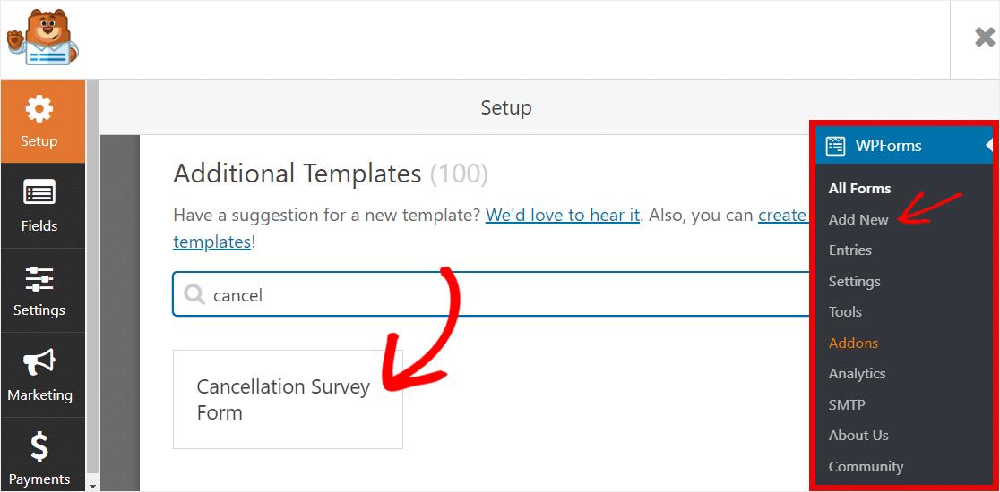 cancelation form template wpforms