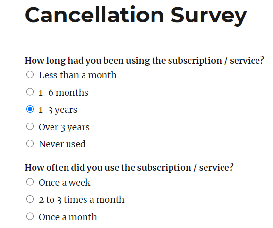 cancellation survey form finished in wordpress