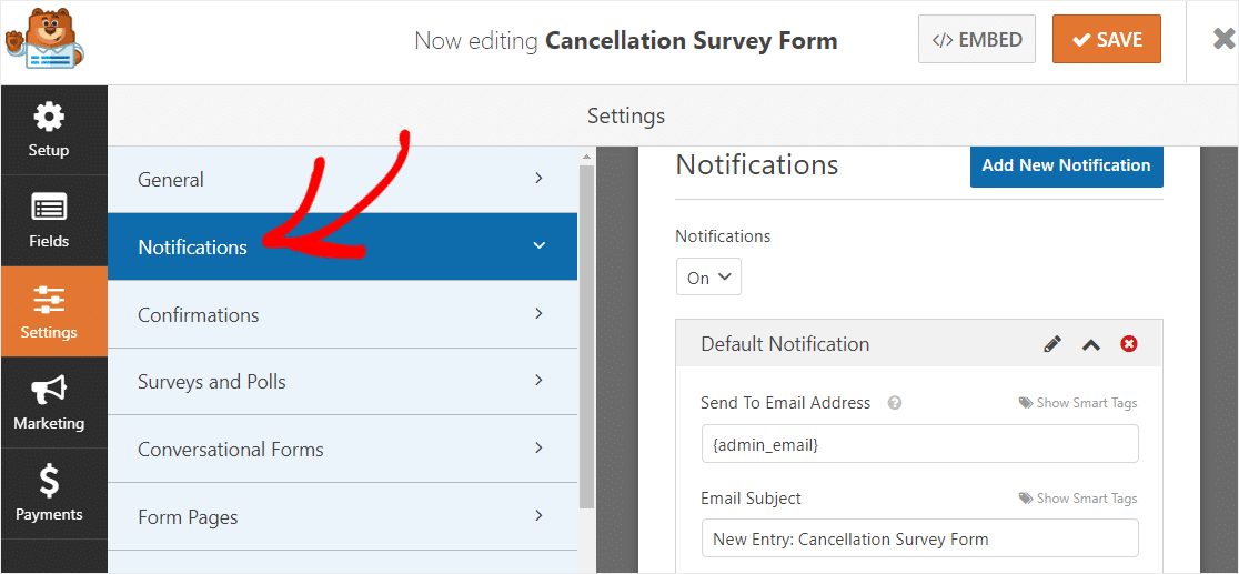 cancellation survey form notifications