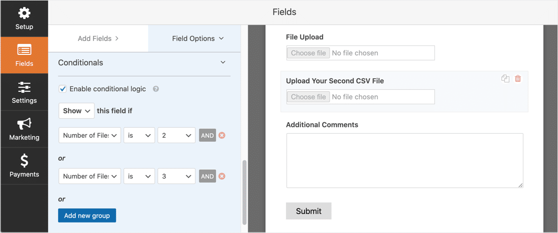 Conditional logic for second CSV upload field