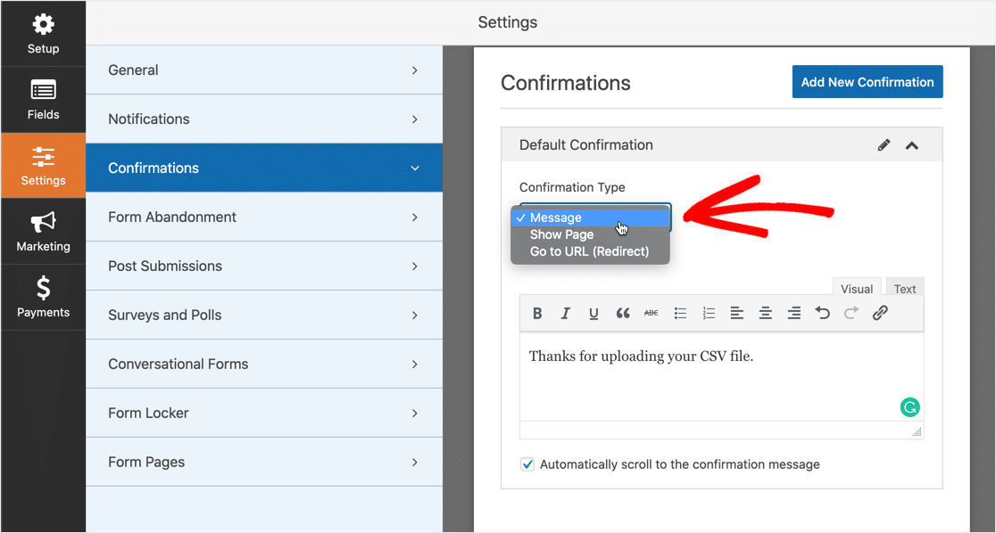 Configure CSV file upload confirmation message