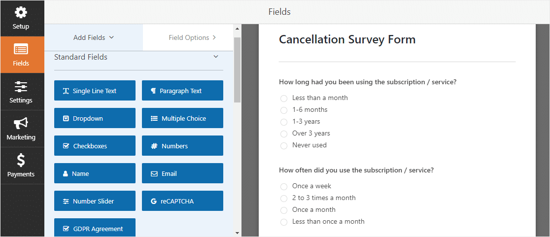 customer cancellation survey form template