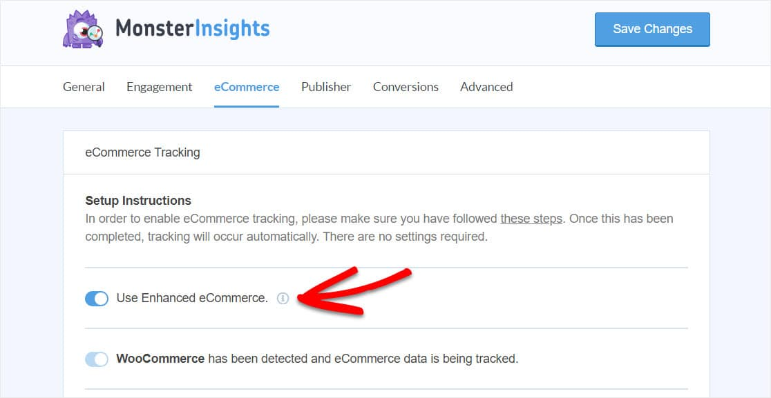 enable enhanced ecommerce in monsterinsights to use woocommerce google analytics