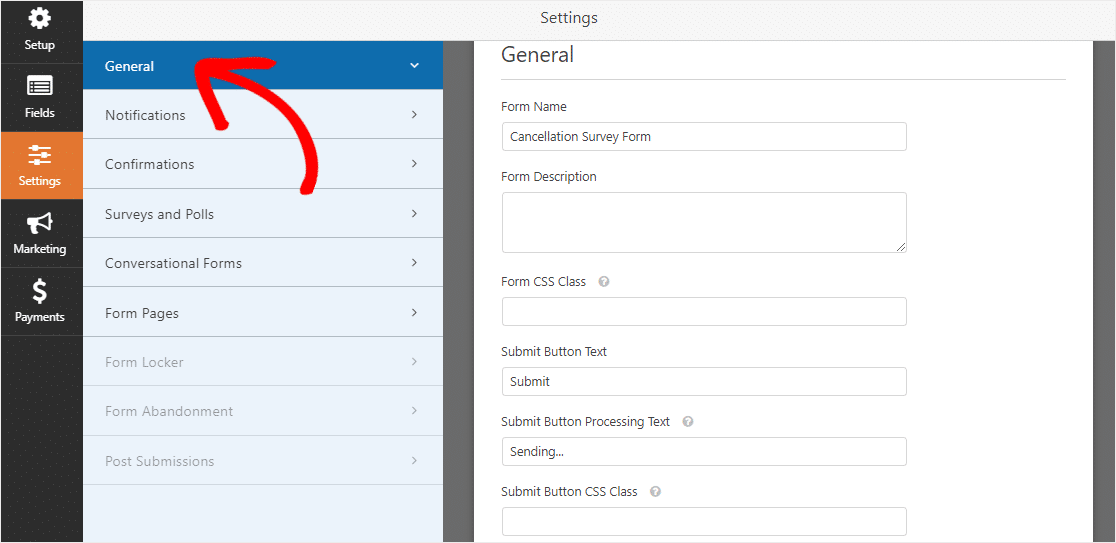 find wpforms general settings on survey cancellation form