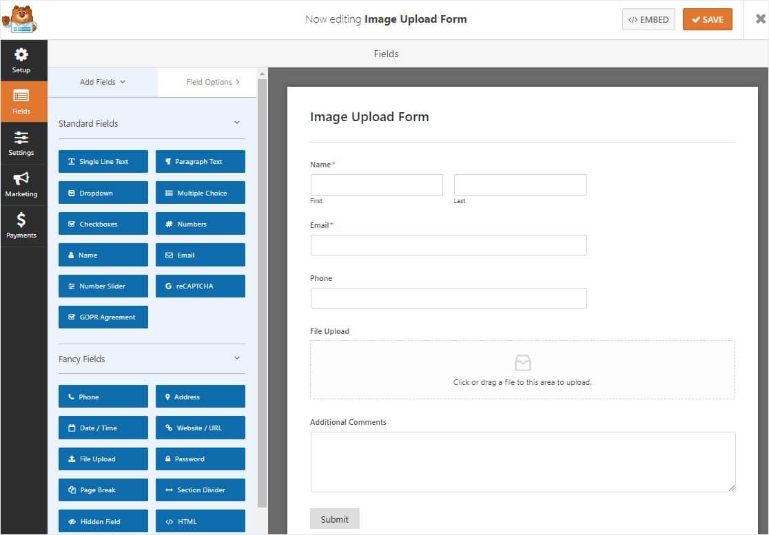 image upload form on wordpress