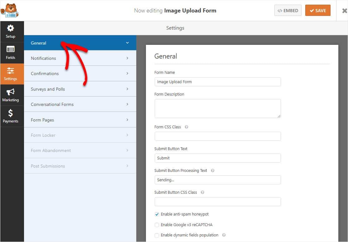 form wordpress settings