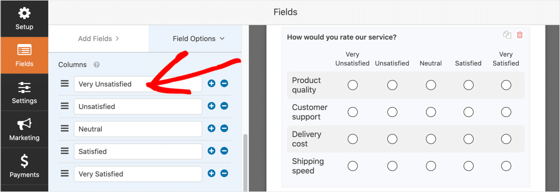 Matrix question answer choices