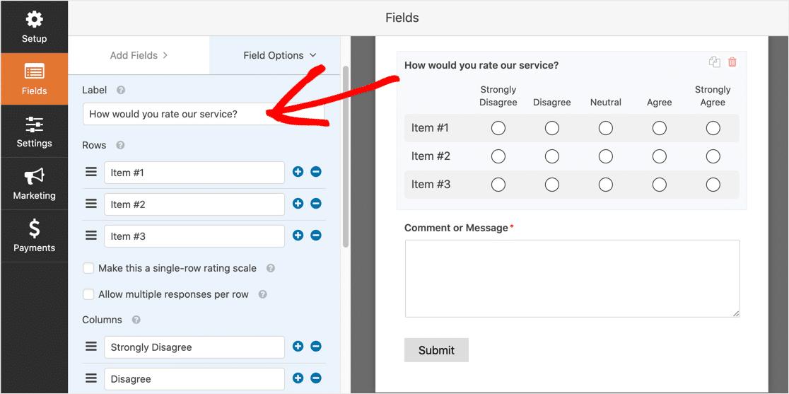 Edit matrix question label