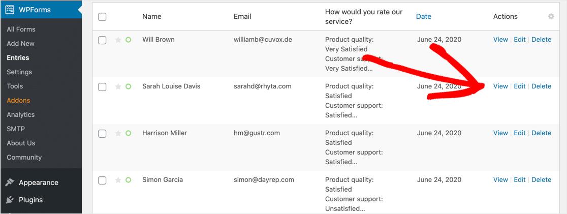 Matrix question response list