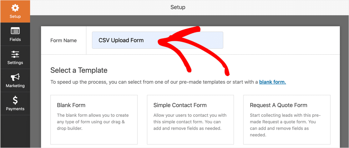 Name your CSV upload form