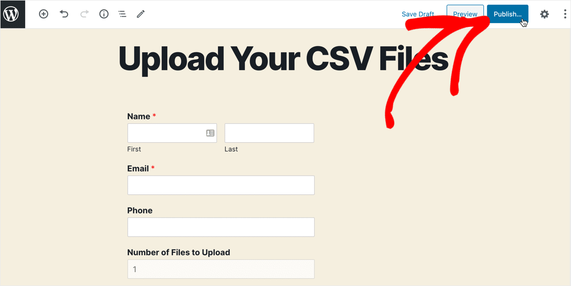 Publish CSV upload form