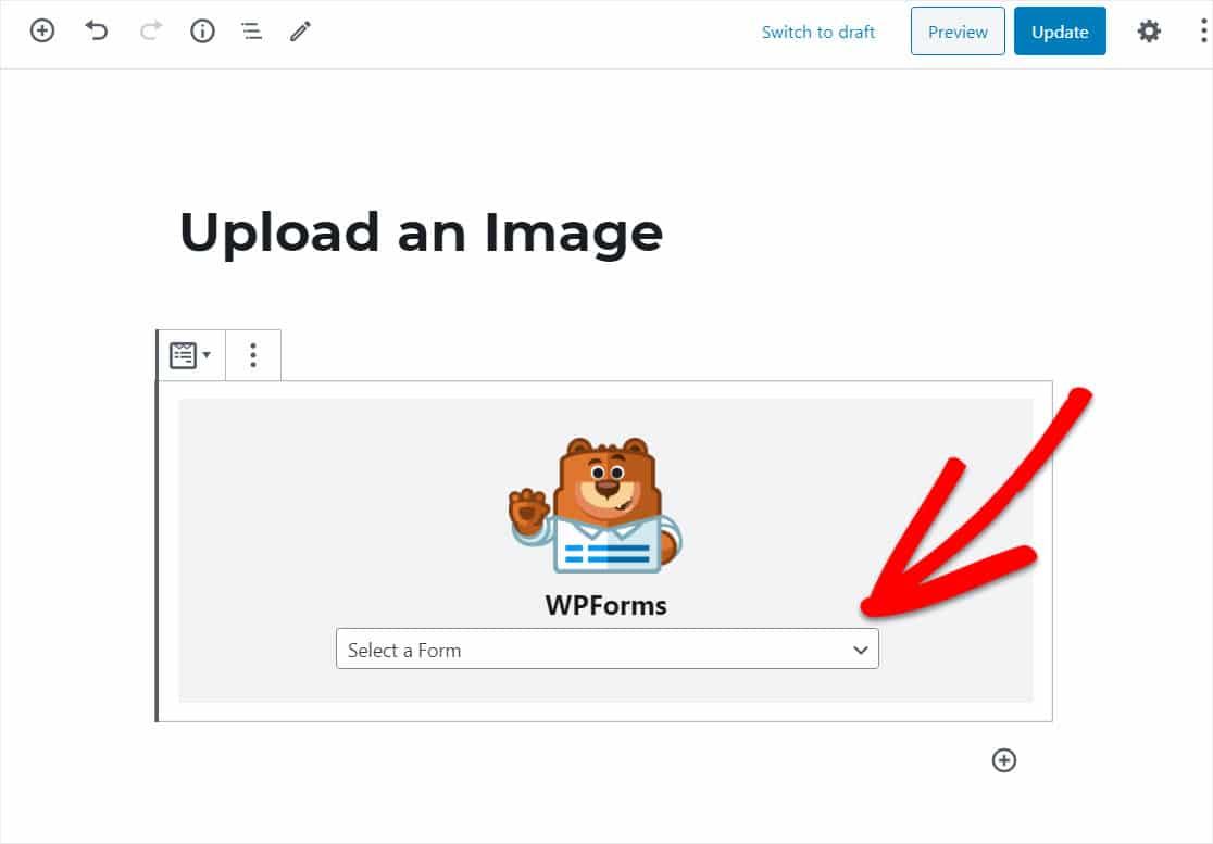 publish wordpress image upload form