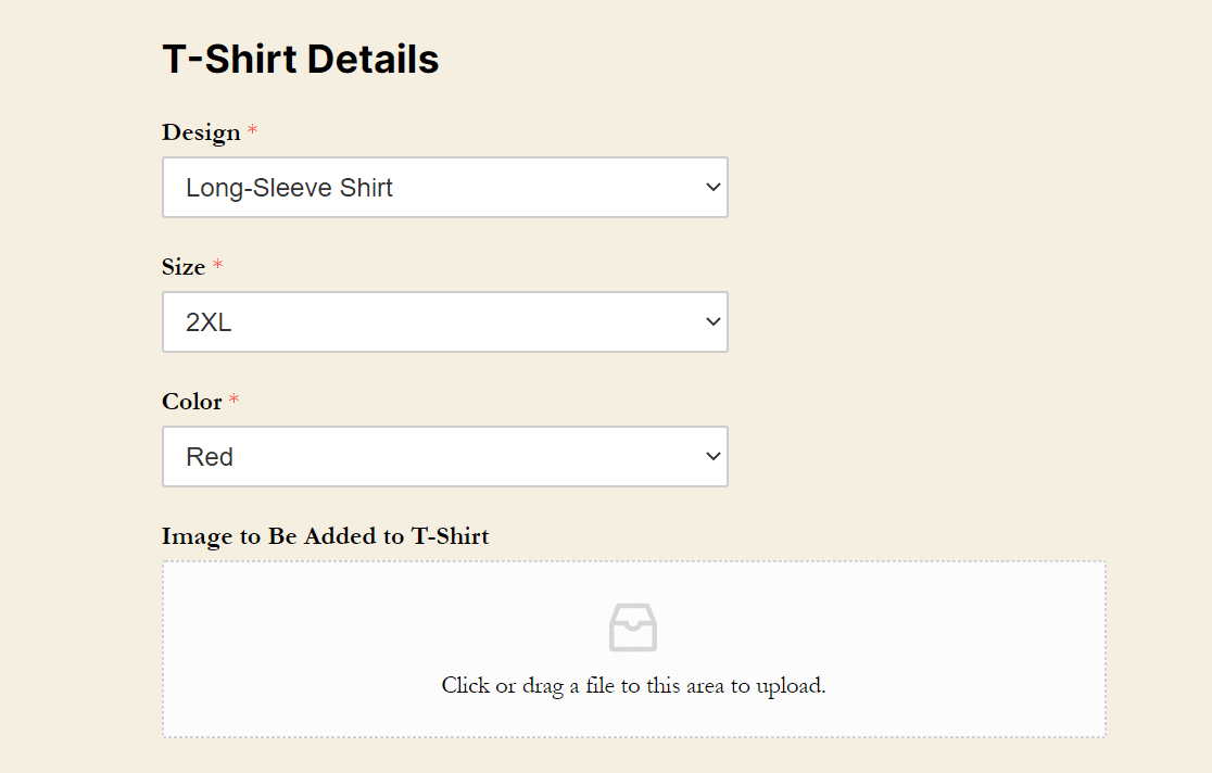 types of wordpress forms tshirt order form with image upload field