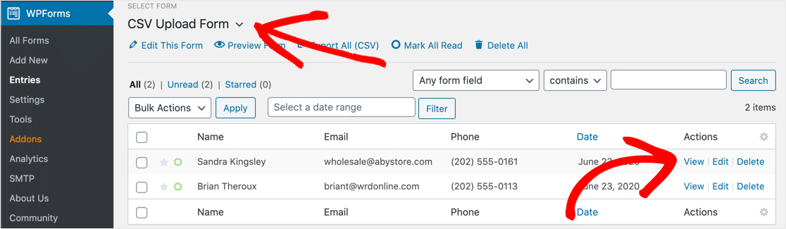 View WordPress CSV uploads