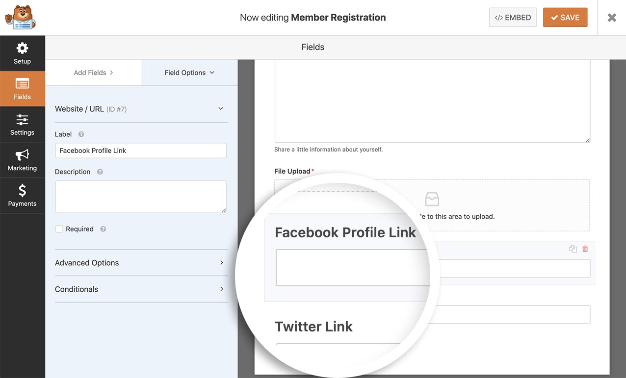 Add 2 URL fields to your form. 1 for Twitter and 1 for Facebook