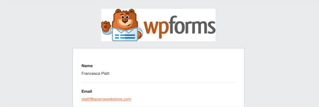 WPForms branded email header