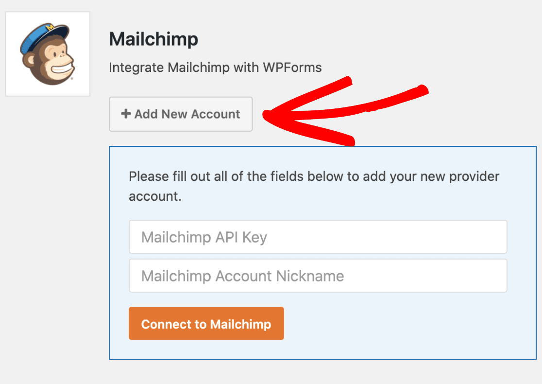 Add new account to WPForms Mailchimp integration