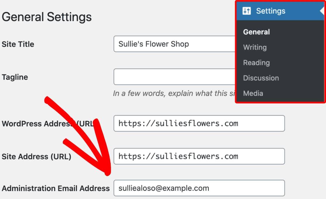 Admin Email in WordPress