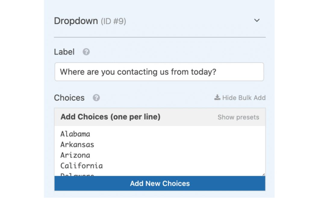 Bulk add custom choices