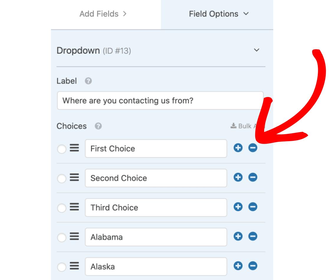 Delete dropdown options