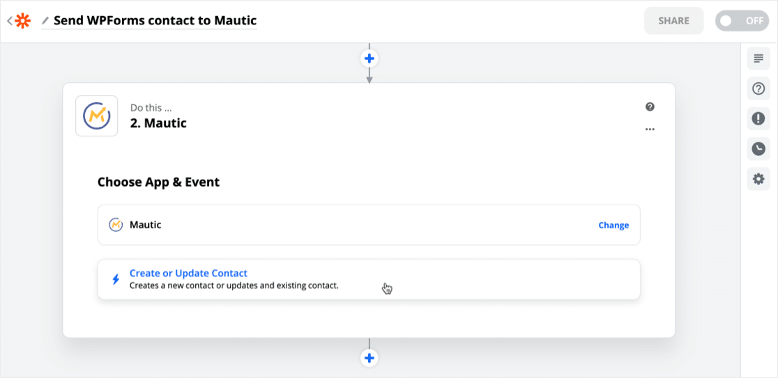 Choose Mautic event in Zapier