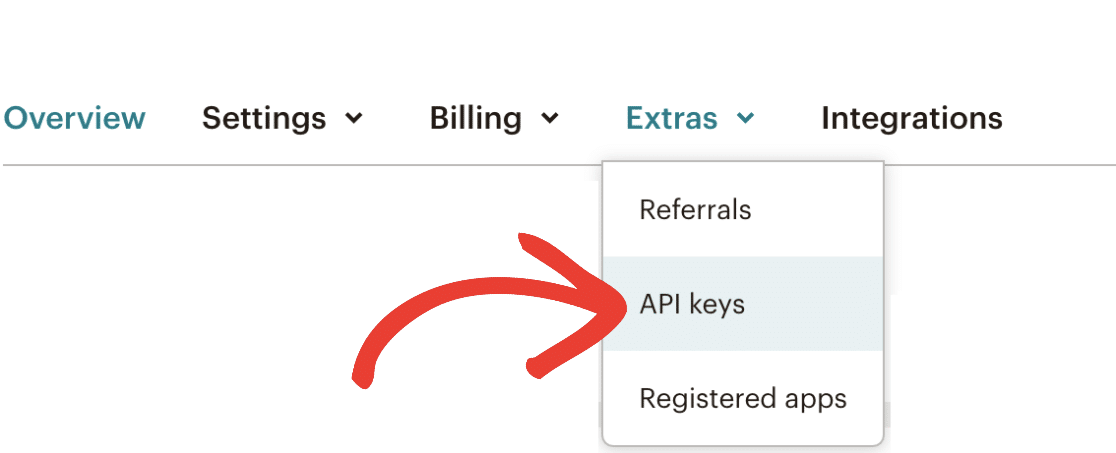 Open API Keys page in Mailchimp