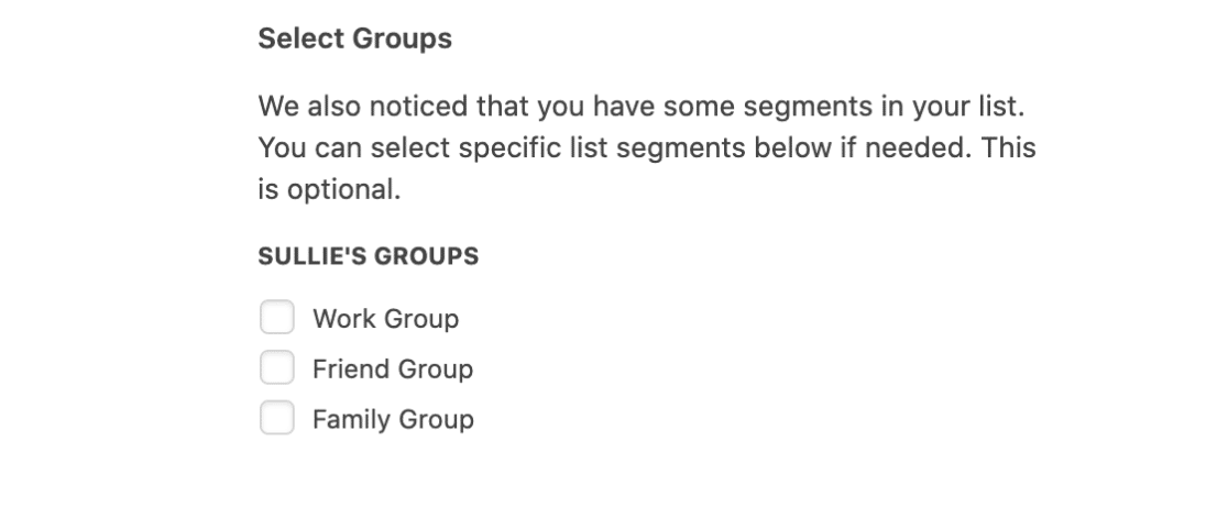 Optionally select Mailchimp groups