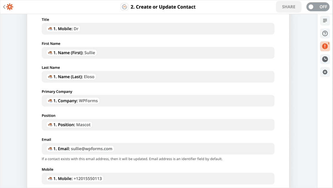 Create or Update Mautic contact from WordPress